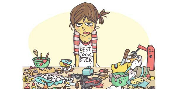image is use to show the frustation of  a girl who is forced to cook
